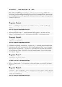AVALIAÇÃO AUDITORIA DA QUALIDADE_ FACULDADE FAVENI