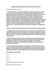 EXERCÍCIOS SOBRE GRÉCIA E ARQUITETURA PALEOCRISTÃ
