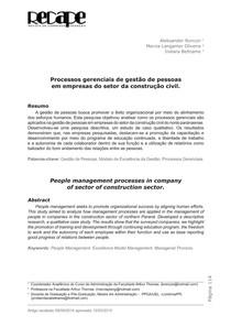 Processos gerenciais de gestão de pessoas