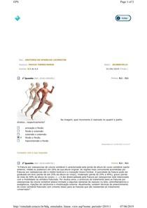 Anatomia Locomotora - Avaliando Aprendizado 3