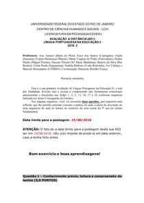AD1 - Língua Portuguesa na Educação 2 - 2018 2