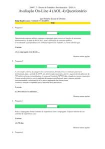 AOL 4 online Direito do Trabalho e Prefevidencia