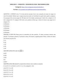 SIMULADO 1 - CONJUNTOS - DIAGRAMA DE VENN - Prof Robson Liers