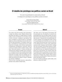 Seminário - O trabalho dos psicólogos nas políticas sociais no Brasil