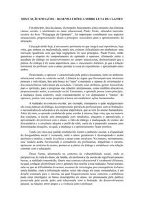 ATIVIDADE DE EDUCAÇÃO EM SAÚDE - RESENHA CRÍTICA SOBRE LUTA DE CLASSES