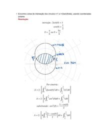 Área entre curvas - coordenadas polares - exercício resolvido
