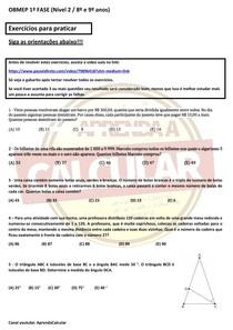 Exercícios para praticar OBMEP NÍVEL 2 - AULA 2 - 1º fase #EXCLUSIVOPD