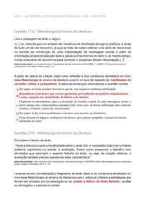 APOL I - METODOLOGIA DO ENSINO DA LITERATURA