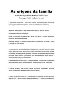 PSICOLOGIA E FAMÍLIA - AS ORIGENS DA FAMÍLIA