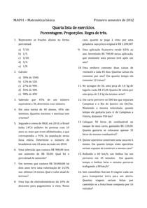 Lista de exercícios de porcentagem