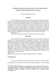 ARTIGO MARKETING PESSOAL DO ADVOGADO