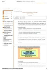 Respostas Questionário AVA AULA TEMA 6 - Tecnologias de Gestão