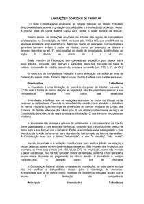 LIMITAÇÕES DO PODER DE TRIBUTAR