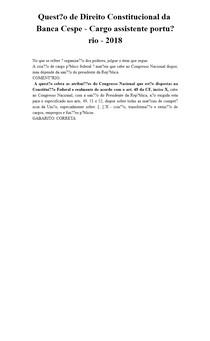 Questão de Direito Constitucional da Banca Cespe - Cargo assistente portuário - 2018