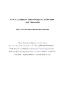 RESUMO COMPLETO DE PROCESSO DO TRABALHO - OAB/ GRADUAÇÃO