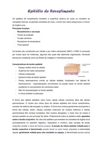 TECIDO EPITELIAL - EPITÉLIO DE REVESTIMENTO / EPITÉLIO GLANDULAR