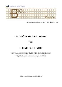PADRÕES DE AUDITORIA DE CONFORMIDADE (PORTARIA-SEGECEX Nº 26, DE 19 DE OUTUBRO DE 2009)