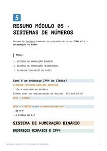 Resumo Módulo 5 - Sistemas de Numeros CCNA v7_1 - Introdução às Redes