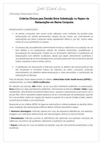 Critérios Clínicos para Decisão Entre Substituição ou Reparo de Restaurações em Resina Composta