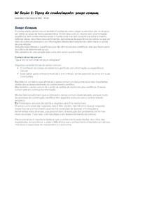 U1 Seção 2 Tipos de conhecimento - senso comum
