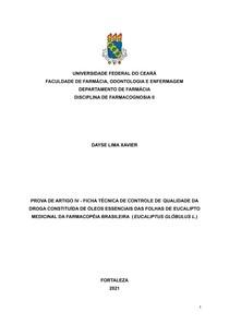 FARMACOGNOSIA II - FICHA TÉCNICA DE CONTROLE DE QUALIDADE DA DROGA CONSTITUÍDA DE ÓLEOS ESSENCIAIS