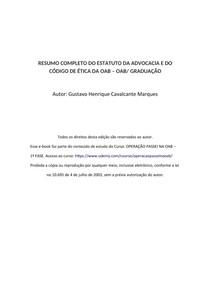 RESUMO COMPLETO ESTATUDO DA OAB E CÓDIGO DE ÉTICA - OAB/ GRADUAÇÃO