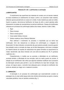 Processos de Conformação e Usinagem(Unip) - Modulo 1 e 2 - Lubrificantes e Laminacao