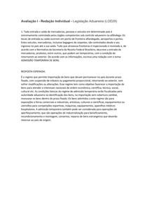 Avaliação I Redação   Legislação Aduaneira