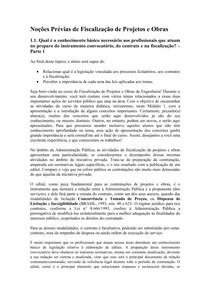 Noções Prévias de Fiscalização de Projetos e Obras (Módulo 1)