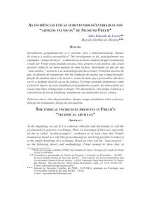 As incidências éticas subentendidas entrelidas nos artigos técnicos de Sigmund Freud