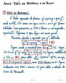 Aula 8   EDOs de Bernoulli e Riccati