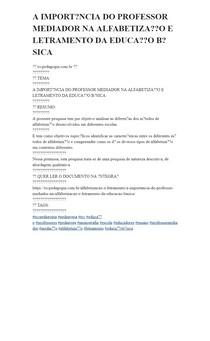 A IMPORTÂNCIA DO PROFESSOR MEDIADOR NA ALFABETIZAÇÃO E LETRAMENTO DA EDUCAÇÃO BÁSICA