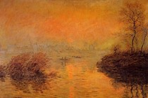 Sunset On The Seine At Lavacourt Winter Effect-Claude Monet