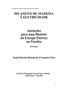 Anotações para uma historia da energia eletrica na paraiba