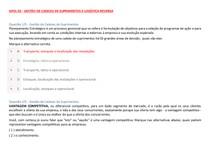 APOL 03 GESTÃO DE CADEIAS DE SUPRIMENTOS E LOGÍSTICA REVERSA