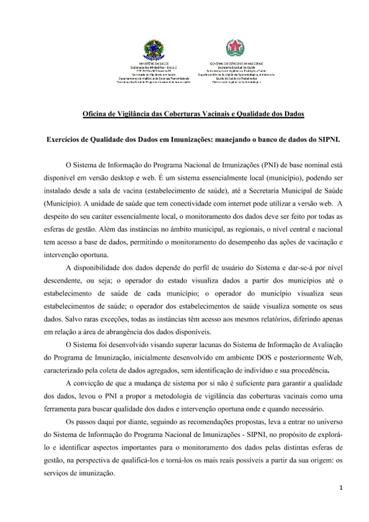 Pre-visualização do material Oficina MG vigilancia das coberturas vacinais  - página 1