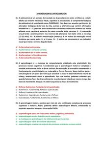 250 questões de Aprendizagem e Controle Motor