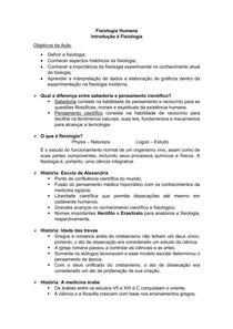Introdução à Fisiologia - Fisiologia Humana