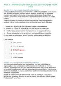 APOL II PADRONIZAÇÃO QUALIDADE E CERTIFICAÇÃO NOTA 100