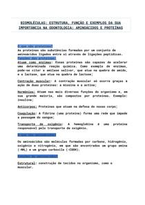 BIOMOLÉCULAS_ ESTRUTURA, FUNÇÃO E EXEMPLOS DA SUA IMPORTÂNCIA NA ODONTOLOGIA_ AMINOÁCIDOS E PROTEÍNAS (1)