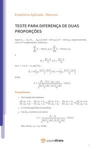 Teste para a diferença de duas proporções - Resumo