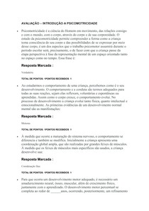 AVALIAÇÃO INTRODUÇÃO A PSICOMOTRICIDADE