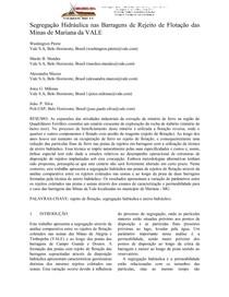 SEGREGAÇÃO HIDRAULICA NAS BARRAGENS DE REJEITO DE FLOTAÇÃO DAS MINAS DE MARIANA DA VALE