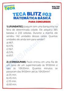 Teca blitz #03 - Questões de Matemática Básica para Concursos