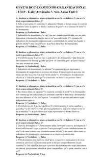 GESTÃO DO DESEMPENHO ORGANIZACIONAL - UNIP - EAD: Atividades Vídeo-Aulas Und: I