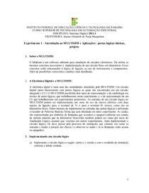 Guia de experimento 1 – Introdução ao MULTISIM e aplicações de portas lógicas básicas