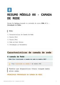 Resumo Módulo 8 - Camada de Rede - CCNA v7_1 - Introdução às Redes