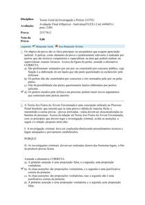 Teoria Geral da Investigação e Perícia Avaliação Final (Objetiva)