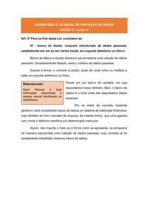 COMENTÁRIOS À LGPD: ARTIGO 5º, inciso IV