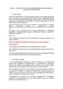 APOL 2 - CONCEITOS E TEMAS CONTEMPORÂNEOS DA GEOGRAFIA NOTA 100 (10 QUESTÕES)